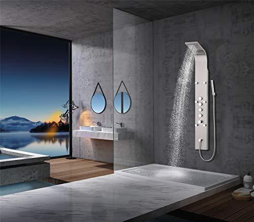 Elbe® Duschpaneel Edelstahl mit Thermostat, 6 Massagendüsen, Wasserfalldusche, Regendusche, Handbrause, Duschsystem 165 x 20 x7 cm Großformat, gebürstetes Edelstahl Optik