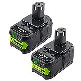 ADVNOVO P108 - Juego de 2 baterías de ion de litio de repuesto para Ryobi ONE + 18 V P107 P104 P105 P102 P103