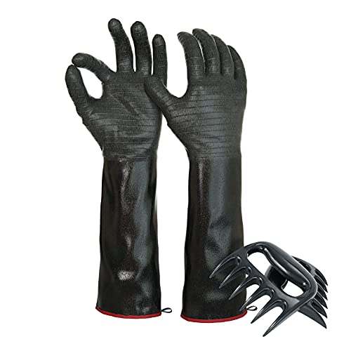 BBQ Gloves Heat Resistant for Cooking, 18 Inch 1472℉Extreme Heat Resistant Grill Gloves Heat Proof, Oven Gloves Cooking Gloves for Smoker Grill, Waterproof, Fireproof, Oil Resistant