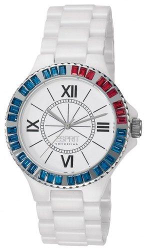 Esprit Collection  Isis Tetra Ruby - Reloj de cuarzo para mujer, con correa de cerámica, color blanco