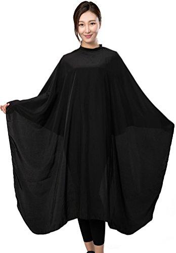 Barber Hair Cutting Cape, Black Salon Haircut Gown, 55' x 59', 5.8 Ounces,Super Silky Smooth-Black