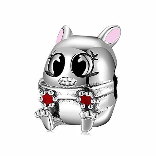 Encantador Colgante De Ratón De Dibujos Animados con Cuentas De Plata De Ley 925 Que Se Ajustan Al Collar Original Pandora Pulsera DIY Joyería Que Hace Regalo