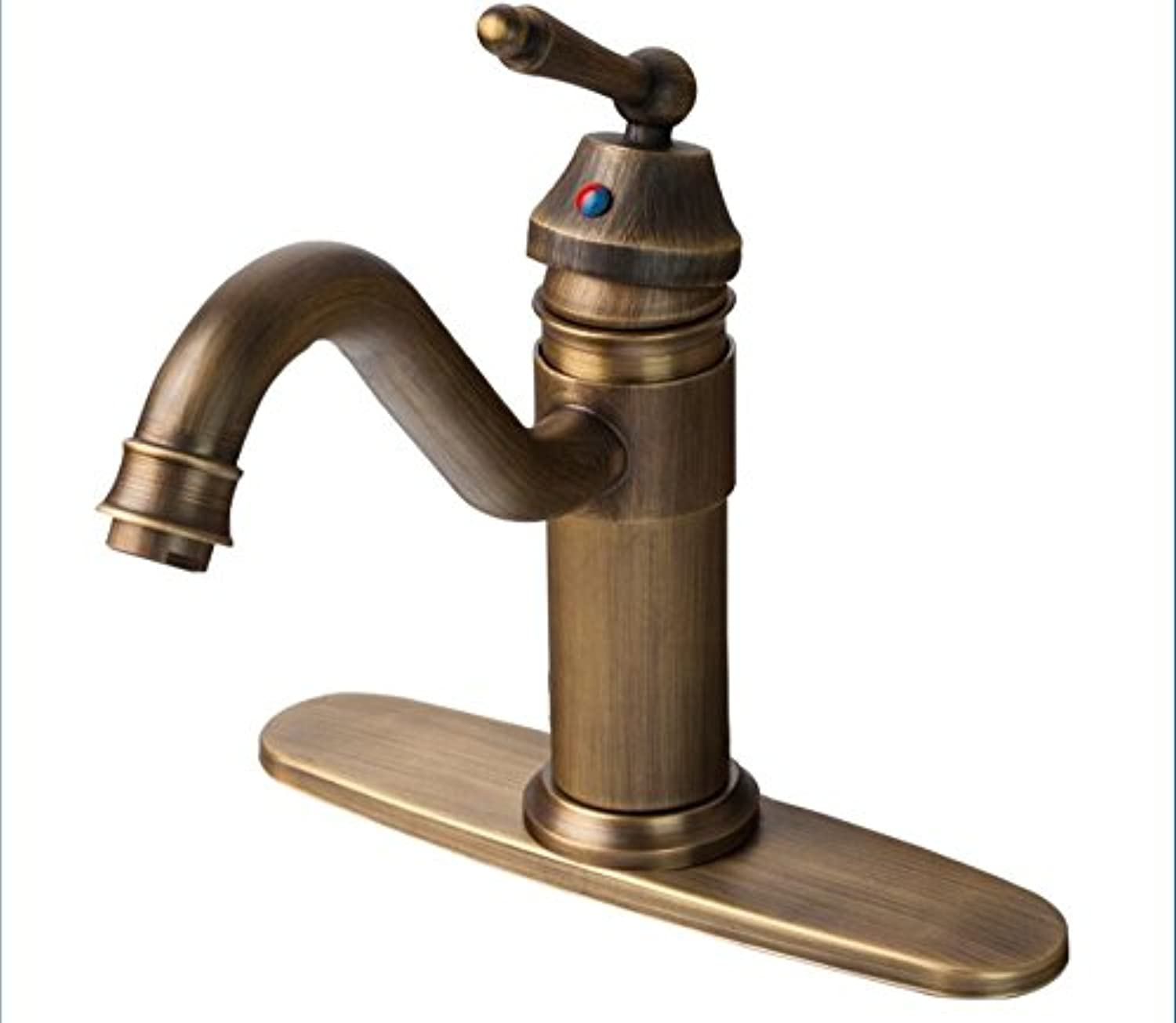 Makej Luxury Antique Brass Bathroom Sink Faucet Single Handle Swivel Spout Waterfall Mixer Tap with Cover Plate