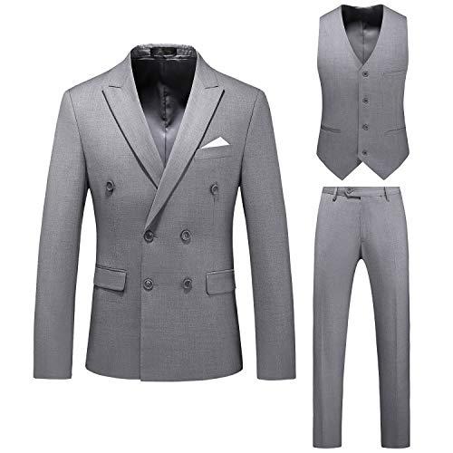 Herren Anzug Slim Fit 3-teiliger Anzug Zweireiher Anzugjacke Weste Anzughose Modern Herrenanzug Business Hochzeit Party Grau 4XL
