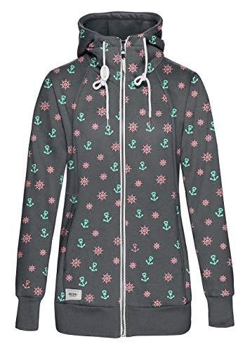 TrendiMax Damen Sweatjacke Kapuzenjacke Full Zip Sweater Langer Hoodie Kapuzenpullover-S-Dunkelgrau mit Anker Druck