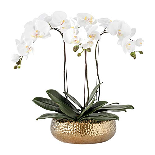 Artificial Flora Orchid Flowers for Decoration - Lifelike Faux Orchid Flowers Real Touch Artificial Butterfly Orchids with Electroplated Vase for Home/ Office/ Parlor/ Wedding Party Artificial Flowers