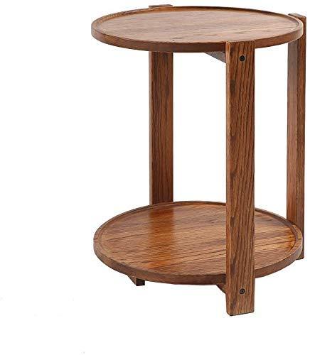 LYHY Nest of Tables Mesa de Centro Blanca Mesas auxiliares Mesa para portátil Lapdesks Madera Maciza Sofá de café Redondo Doble Junto a la Cama, marrón para Todas Las Estaciones de Trabajo