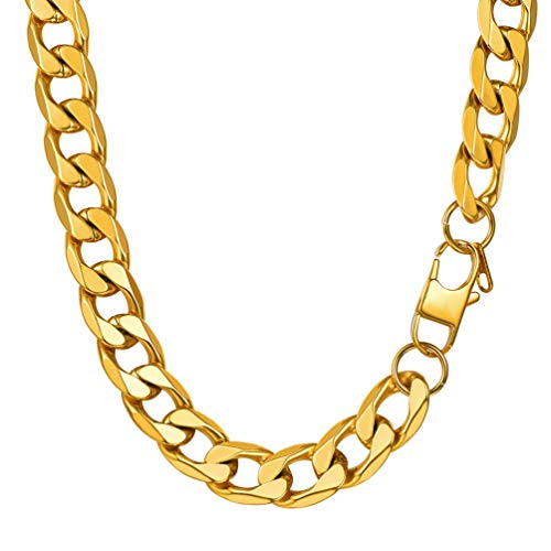 PROSTEEL Chunky Gold Chain Men 13MM 76CM Length Cuban Chains Link Hiphop Rocker Biker Rapper Long Necklace