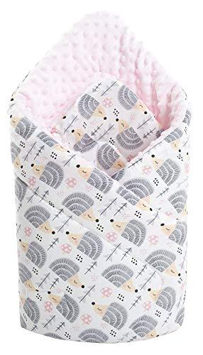 Einschlagdecke Steckkissen Minky 100% Baumwolle 75x75 cm Schlafsack doppelseitiges weich ganzjährig multifunktional antiallergisch Babys Medi Partners (graue Igel mit hellrosa Minky)
