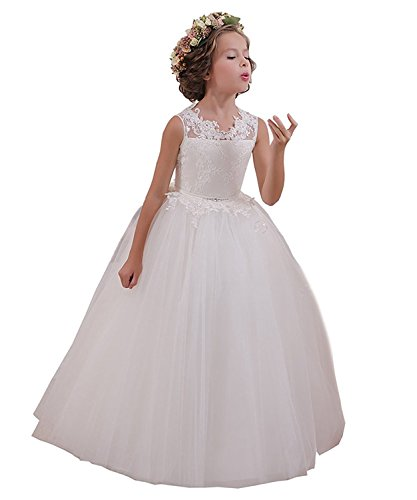 Abaowedding Ball Gown Lace up Flower First Communion Girl Dresses US 8 White