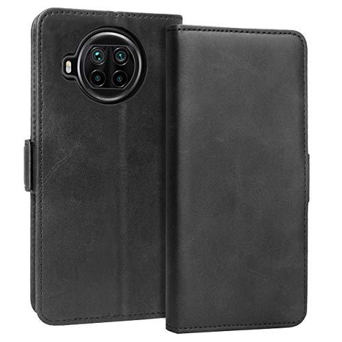 KUAO Leder Klapphülle Hülle Kompatibel mit Xiaomi Mi 10T Lite 5G, [Classic Wallet Serie] mit Magnetverschluss & Standfunktion Schutzhülle Tasche Handyhülle für Xiaomi Mi 10T Lite (Schwarz)