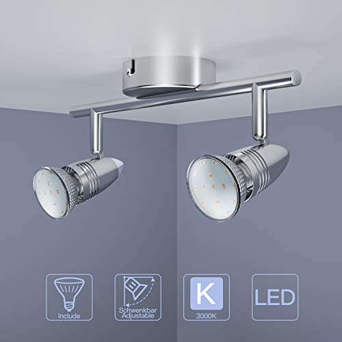 Neue Dawn 2 Flammig LED Deckenleuchte Schwenkbar, inkl. 2 x 3W Leuchtmittel GU10 LED, Warmweiß, LED Deckenlampe LED Deckenspot LED Deckenstrahler LED Leuchte [Energieklasse A+]