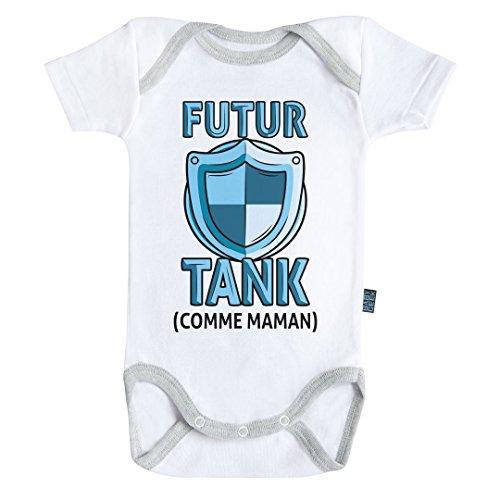 Baby Geek Futur Tank comme Maman (Version garçon) - Body Bébé Manches Courtes - Coton - Blanc - Coutures Grises (12-18 Mois)