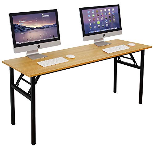 DlandHome Need 62 Inches Large Home Office Computer Desk, No Install Needed, Composite Wood Board, Folding Dining Table/Workstation, 62 Inches Teak and Black Legs, 1 Pack