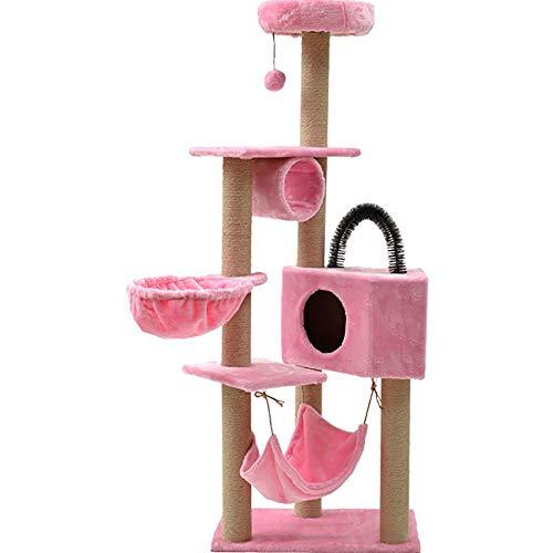 ZHDDSM Katze Klettergerüst mit Hängematte Fünf-Schicht-Kratzbaum Medium Sisal Katze Klettergerüst Haustier Katzenstreu Chassis stabil, warm zu fangen 160×40×60 Juckreiz Turm Komfort,Pink