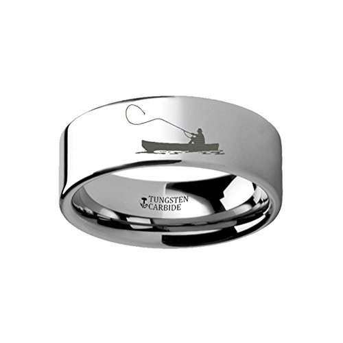 Thorsten Fly Fishing Boat Fisherman Design Sport Fishing Print Pattern Flat Tungsten Ring 8mm Wide Wedding Band from Roy Rose Jewelry Size 12