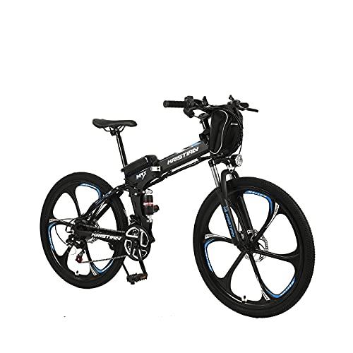 ZOSUO 26' Bicicleta Eléctrica Plegable E-Bike Frenos Hidráulicos Batería Integrada Litio 36V10ah Motor De 350W Bicicleta 30 Km/H Híbrida De Montaña Transmisión Shimano De 21 Velocidades