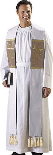 White Alpha Omega Clergy Stole with Tassels