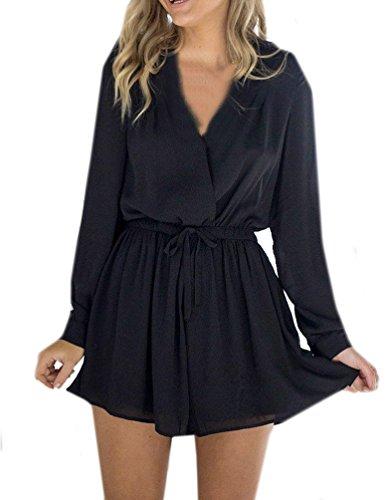 Dames zomer overall casual kleuren jumpsuits rompers mini jurk sexy V-hals lange mouwen met bandage rok