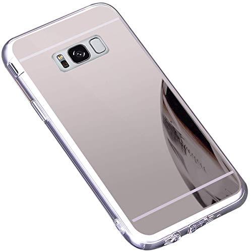 Jinghuash Coque Compatible avec Samsung Galaxy S8,Miroir Coque en Silicone Ultra-Mince Etui Housse de Protection Cristal Clair Soft Gel TPU Shockproof Bumper Case Mirror Effect Cover-Argent