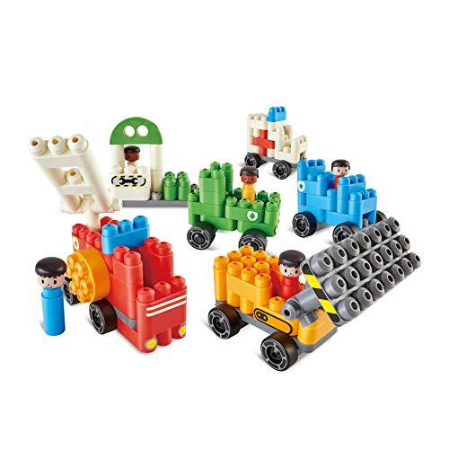 Poly-M 760024 Hape PolyM City 130 Piezas de construcción de ladrillo vehículo Juguete Conjunto con Figuras y Accesorios, Multicolor