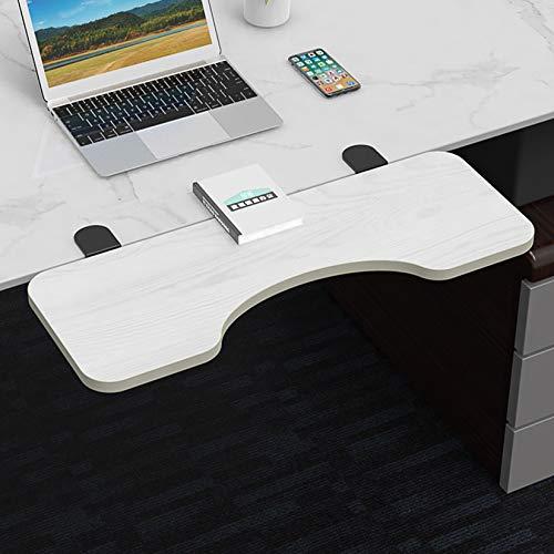 LIYANG Ergonomic Desk Extender, Arc Keyboard Tray, Table Extender Armrest Shelf Stand for Desk, White