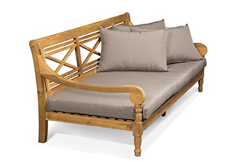 LANTERFANT - Loungebank Roos, Relaxliege, Sofa, Kissen, Bett Teakfarbe und Taupe, 171x85x74 cm