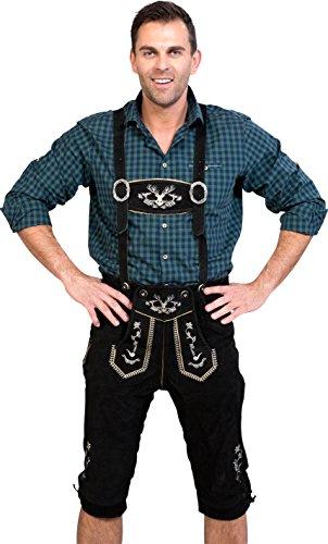 Almwerk Herren Trachten Lederhose Kniebund Modell Hipster in schwarz, braun und Hellbraun, Farbe:Schwarz;Lederhose Größe Herren:46