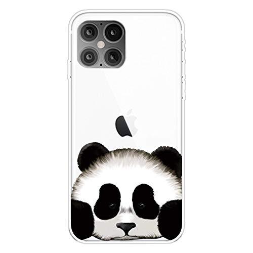 """Nadoli Transparent Silikon Hülle für iPhone 12 6.1\"""",Durchsichtig Klar Lustig Kreativ Leicht Dünn Weiche Stoßfest Handyhülle Schutzhülle mit Braun Bär Muster"""
