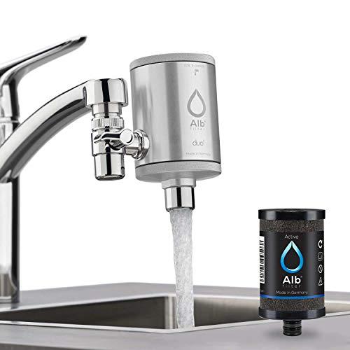 Alb Filter® Duo Active Trinkwasserfilter | Armatur Anschluss | Filtert Schadstoffe, Chlor, Blei, Pestizide, Mikroplastik | Set mit Gehäuse und Kartusche | Made in Germany Natur