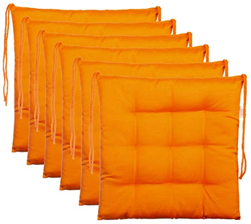 BrandssellerCojín decorativo de asiento para silla de jardín, 9 pespuntes, varios diseños, poliéster, naranja, 6er-Paket
