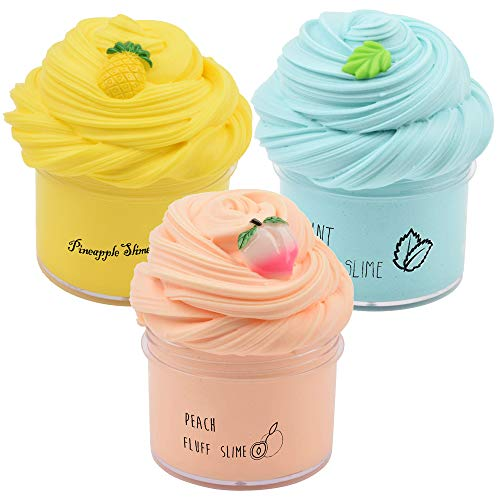 Sunool 3 Pack Butter Slime, Mint Green Leaf, Yellow Pineapple, Pink Peach Butter Slime Putty Stress...