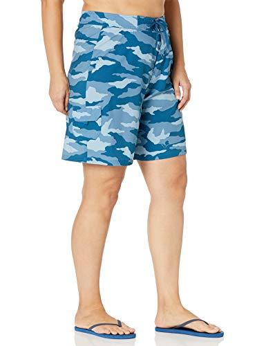 Kanu Surf Women's Plus-Size Marina Solid Stretch Boardshort, Beach Camo Blue, 3X
