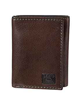 Levi s Men s Trifold Wallet-Sleek and Slim Includes Id Window and Credit Card Holder Brown Stitch One Size