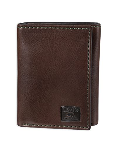 Levi's Men's Trifold Wallet-Sleek and Slim Includes Id Window and Credit Card Holder, Brown Stitch,...