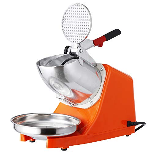 ZENY Electric Ice Crushers 300W 2000r/min w/Stainless Steel Blade Shaved Ice Snow Cone Maker Kitchen Machine (Orange)