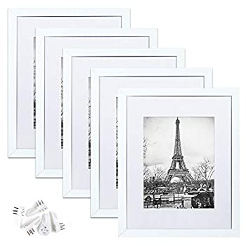 upsimples 11x14 Picture Frame Set of 5,Display Pictures 8x10 with Mat or 11x14 Without Mat,Wall Gallery Photo Frames,White