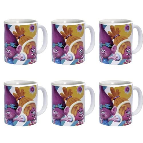 BricoLoco. Lote de 6 tazas de TROLLS. Tazas originales y graciosa para el desayuno. Tazas infantiles para niño y niña.
