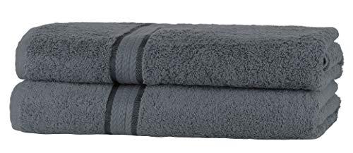 SweetNeedle Super Soft 2 Pack Extra Large hoja de baño 90x150 Carbón, 580 GSM - 100% Pure Ringspun Cotton - Lujoso Trim Rayon - Ideal para uso diario - Easy Machine Wash