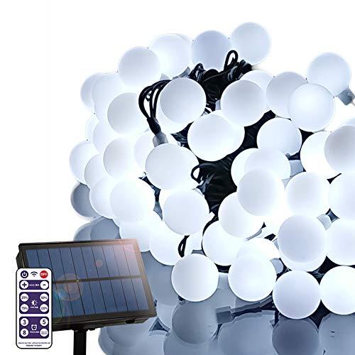 電光ホーム ソーラー LED イルミネーション ストレート カラーボール ライト [ 8パターン 点灯/リモコン付属 / 15m 100球 ] 屋外 防水 防雨 ガーデン DIY (ホワイト)