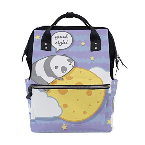 NHJYU Kawaii Panda Hug Moon Travel Sac à dos Large Nappy Sac à langer Laptop Sac à doss for Women Men