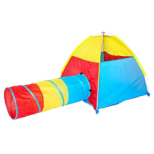 Dome and Tunnel Play Tent Set for Children - Kids Pop Up Play Tent with Tunnel for Indoor & Outdoor Use Improved Design