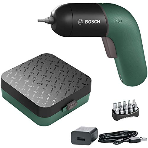 BOSCH IXO VI Screwdriver Professional | Cordless Electric Color 3.6V USB Rechargeble Lightweight Small Convenient Home Deco Li-ion Battery (Green)