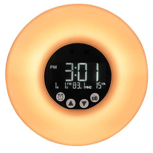 LTLDGM Wecker/Wecklicht, 7 Farben, 8 Arten von Sound, Touchscreen, Fernbedienung, USB, direktes Aufladen, LCD-Nachtlicht, 20,8 x 15,8 x 5,7 cm