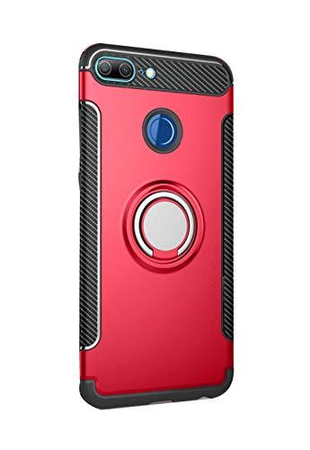 Sunrive Für Huawei Nova 2 Plus Hülle Silikon, 360°drehbarer Ständer Ring Fingerhalter Fingerhalterung Handyhülle matt Schutzhülle Etui Hülle (05 Rot)+Gratis Universal Eingabestift