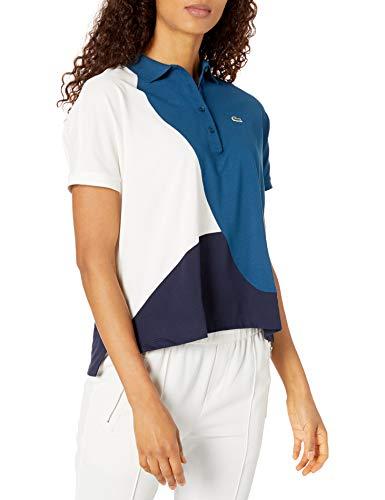 Lacoste Womens Short Sleeve Regular Fit Color Block Polo Polo Shirt, Navy Blue/Raffia Matting/Flour, S