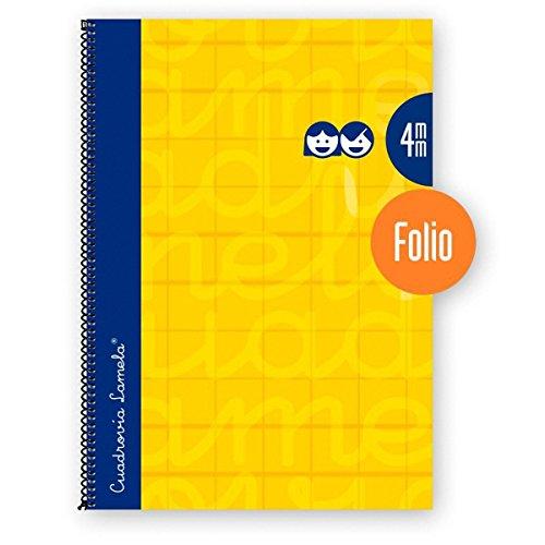 Cuaderno Espiral LAMELA Folio 80H Cuadrovía 4 mm. Tapa Extradura Amarillo
