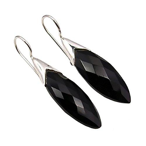 Unique Exklusive Jugendstil Ohrhänger schwarzer Onyx Tropfen eingefasst in 925 Sterling Silber...