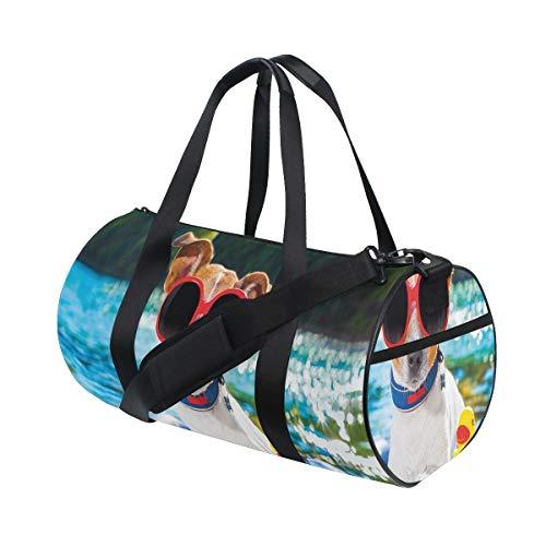 HARXISE Bolsa de Viaje,Perro Jack Russell con Gafas de Sol Sentado en el Cachorro de Lake Beach en la Imagen,Bolsa de Deporte con Compartimento para Sports Gym Bag