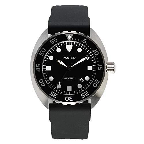 Pantor Nautilus 515 - Reloj de buceo para hombre, 200 m, cuarzo suizo, 45 mm, con bisel giratorio y correa de goma